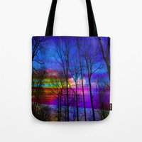 the moon Tote Bags featuring Moon by haroulita