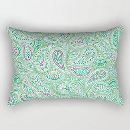 Jade Green Paisley Rectangular Pillow
