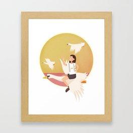 Fly Girl And White Swan Framed Art Print