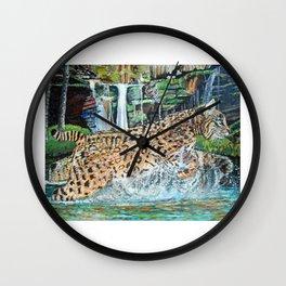 Bobcat in the Holler Wall Clock
