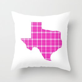 Texas State Shape: Pink Throw Pillow