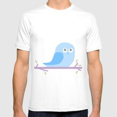 Bird on a branch go Hoot; MEDIUM White Mens Fitted Tee