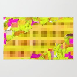 green yellow pink brown painting and pixel abstract background Rug