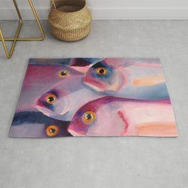 Violet and Blue Fish swimming in sea Rug