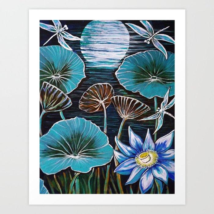 Blue Lotus Flower Dragonflies Original Painting By Sheridon