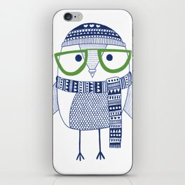 Hipster owl - green glasses iPhone Skin