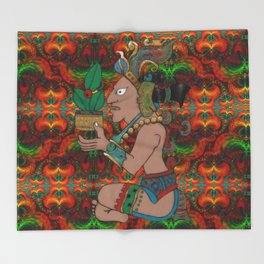 Yucatan Psychedelic Mexicano Visiones Throw Blanket