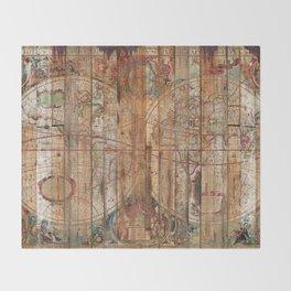 Reclaimed Wood Map Throw Blanket