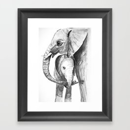 Mom and Baby Elephant, new mommy with baby Framed Art Print