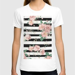VINTAGE FLORAL ROSES BLACK AND WHITE STRIPES T-shirt