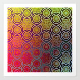 Pink, Purple, Yellow, and Orange Circles and Cogs Art Print