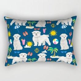 Maltese beach summer dog breed cute gifts for maltese owner beaches Rectangular Pillow
