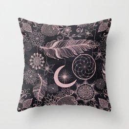 Rose Gold Glitter Dreamcatcher Feathers Mandala Throw Pillow