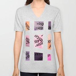 Watercolor color blocks and branches - purple and orange Unisex V-Neck