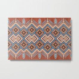 Eastern Inspired Folk Boho Patter Rusty Colors Metal Print