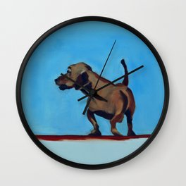 Doxie Dog in Red White and Blue Wall Clock