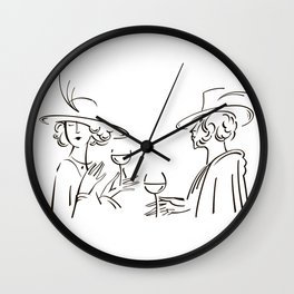 Abstract retro portrait of man and woman Wall Clock