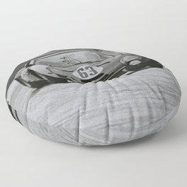 Race car black and white Floor Pillow