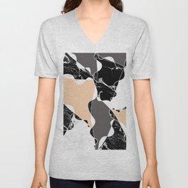 Modern black white marble gray peach color block Unisex V-Neck