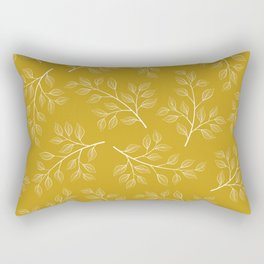 White Branch and Leaves on Mustard Yellow Rectangular Pillow