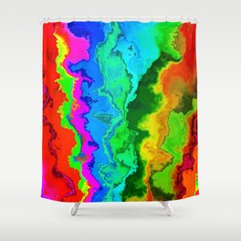 Vibrant Marble Texture No3 - Rainbow Spectrum Shower Curtain