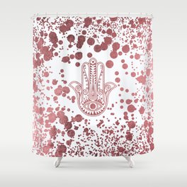 Chic elegant faux rose gold confetti hamsa hand of Fatima Shower Curtain