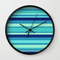 preppy Wall Clocks featuring Preppy Stripes - Aqua Blues by Sweet Karalina