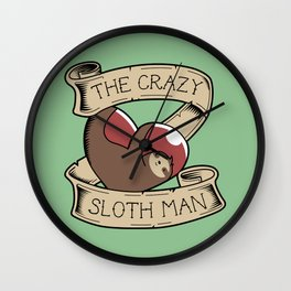 Crazy Sloth Man Tattoo Wall Clock