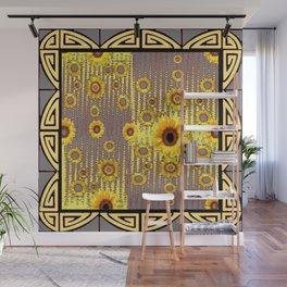 MODERN  ART DECO GOLDEN SUNFLOWERS  GREY-BLACK Wall Mural