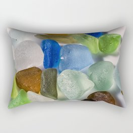 Colorful New England Beach Glass Rectangular Pillow
