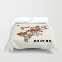 boston map Duvet Covers featuring boston map by bri.buckley