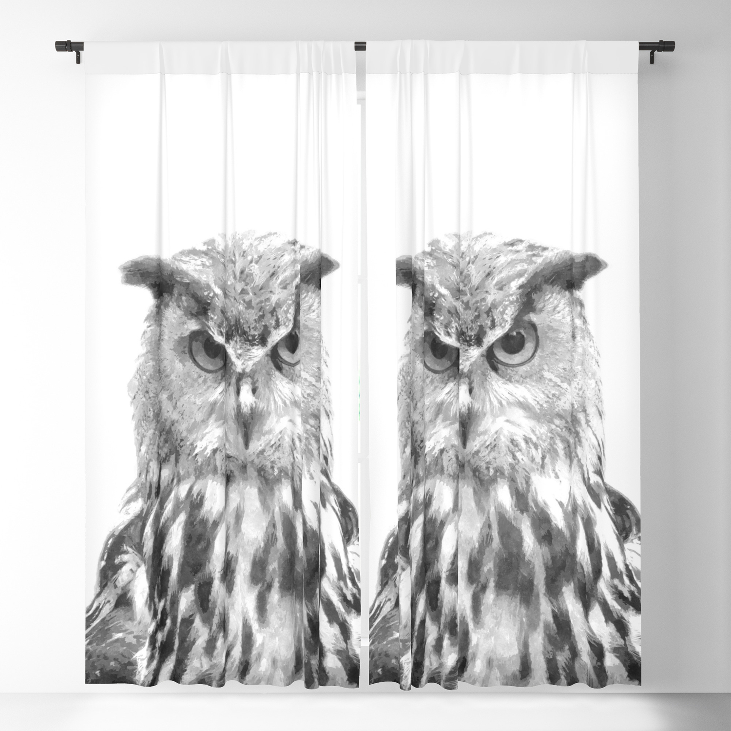 Black and white owl animal portrait blackout curtain by alemi
