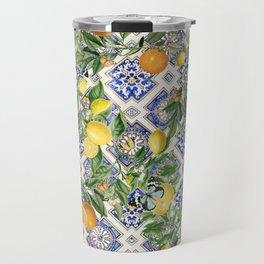 Blue mediterranean vintage citrus orange fruit pattern Travel Mug