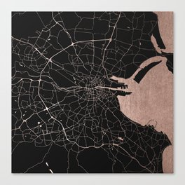 Black on Rosegold Dublin Street Map Canvas Print