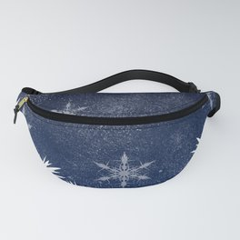 Winter white snow pine trees navy blue Christmas Fanny Pack