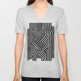Dazzle Camo #01 - Black & White Unisex V-Neck