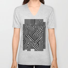 Dazzle Camo #01 - Black & White Unisex V-Neck