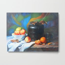 Still life with fruits and flag Metal Print