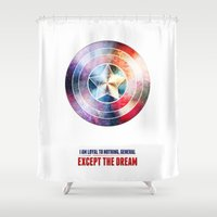 avenger Shower Curtains featuring The first avenger by Julien Kaltnecker