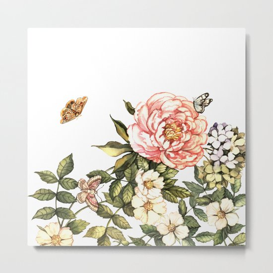 Vintage floral watercolor background Metal Print