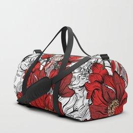 RED PEONIES PATTERN Duffle Bag