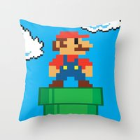 mario bros Throw Pillows featuring Mario Bros by WaXaVeJu