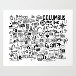 Columbus Ohio Map Art Print
