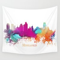 minneapolis Wall Tapestries featuring Minneapolis skyline watercolor by jbjart