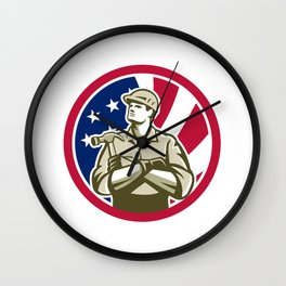 American Carpenter USA Flag Icon Wall Clock