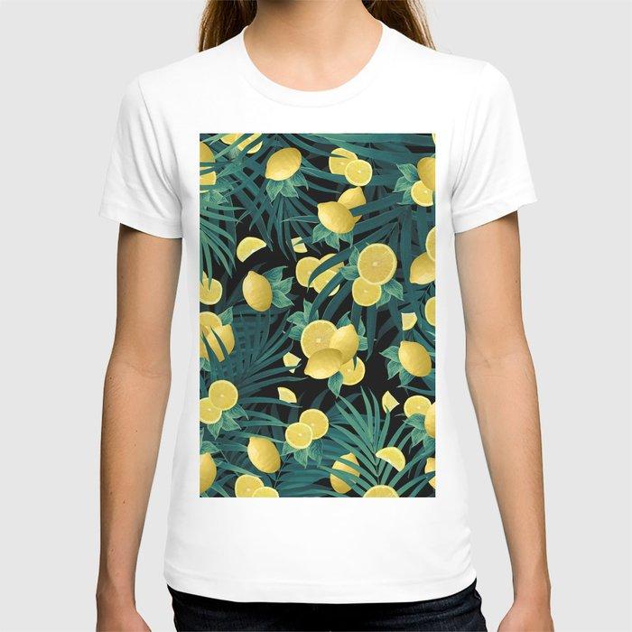 Summer Lemon Twist Jungle Night #1 #tropical #decor #art #society6 T-shirt
