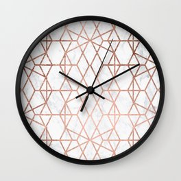Geometric modern abstract stripes lines rose gold white marble pattern Wall Clock