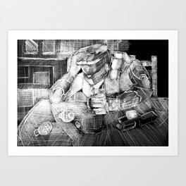 The Chief Having a Cup of Tea. Art Print
