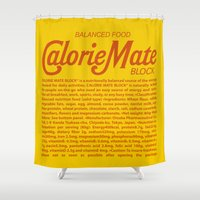 metal gear solid Shower Curtains featuring Metal Gear Solid - Calorie Mate Block by GunnerGrump