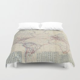 Vintage World Air Travel Map (1919) Duvet Cover